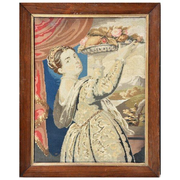 Framed Needlepoint Portrait, 19th C