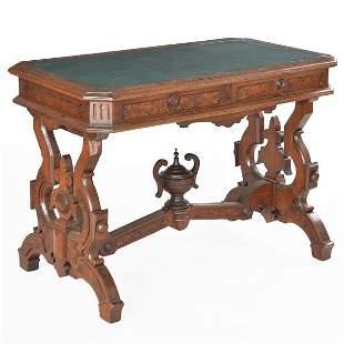 Victorian Eastlake Walnut Library Table