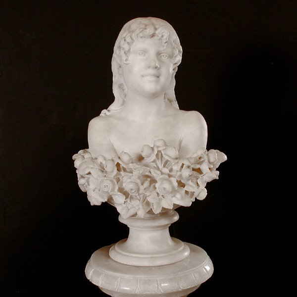Carved Marble Female Bust, 19th/20th c