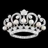 "Tiffany & Co. Diamond & Pearl Crown Brooch ""1894"""