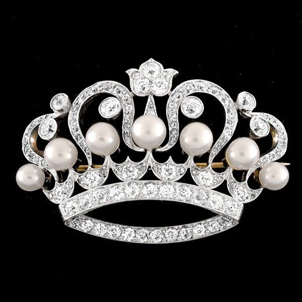 "Tiffany & Co. Diamond & Pearl Crown Brooch ""1894"""