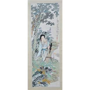 Chinese Painting of Two Woman in a Garden Setting