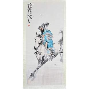 Chinese Hanging Scroll, 'Hunting with Eagle', signed