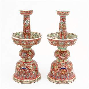 Pair of Chinese Porcelain Candle Stands