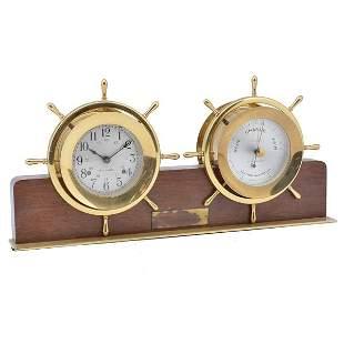 Seth Thomas Ship's Wheel Clock and Barometer