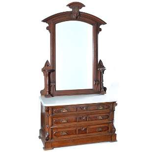Victorian Dresser and Mirror, 19th C