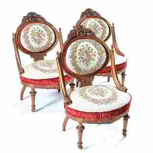 Set of Three Victorian Renaissance Revival Side Chairs