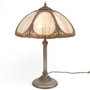 Slag Glass Art Nouveau Table Lamp