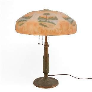 Reverse Painted Table Lamp, Handel Base