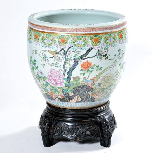 Large Chinese Famille Rose Fish Bowl with Wood Stand