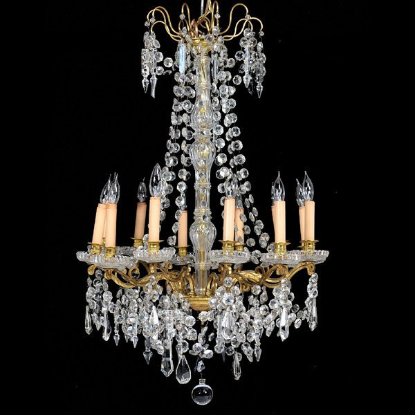 Brass and Crystal 12 Light Chandelier