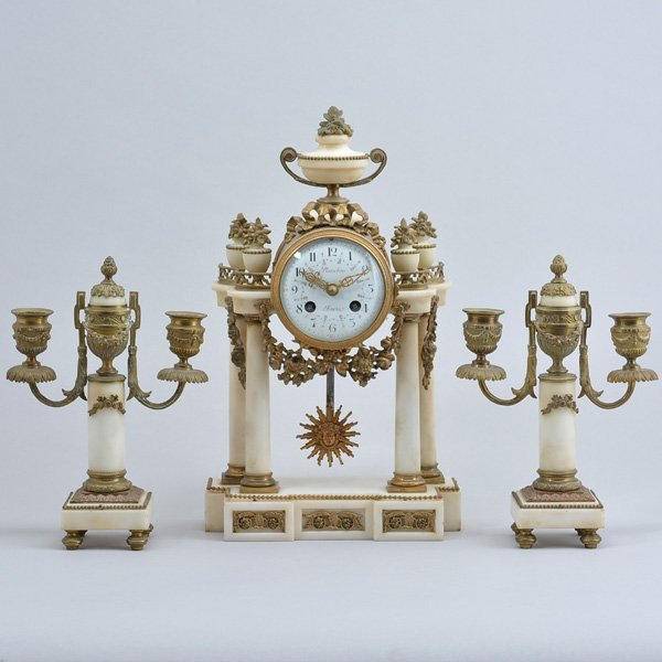 3 Piece French Alabaster Clock Set