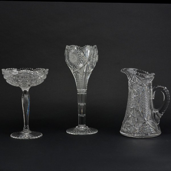 Lot of Three American Brilliant Crystal Vessels