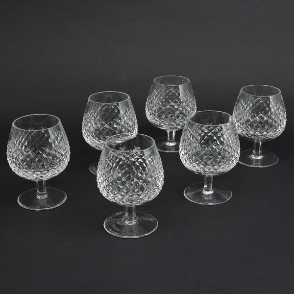 Set of 6 Waterford Brandy Snifters, Pattern Alana