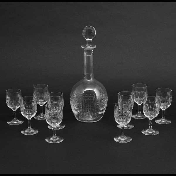 Baccarat Glasses and Decanter, Pattern Nancy