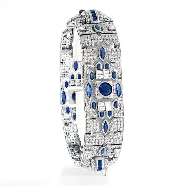 18 Karat Gold Art Deco Sapphire & Diamond Bracelet