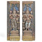 """Pair of early Southern India Entry Panels, """"Dwarapudi"""""""