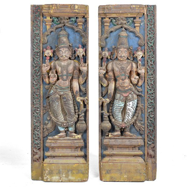 "Pair of early Southern India Entry Panels, ""Dwarapudi"""