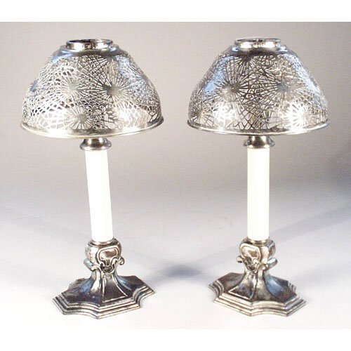 8: Tiffany Studios Candle Lamps.
