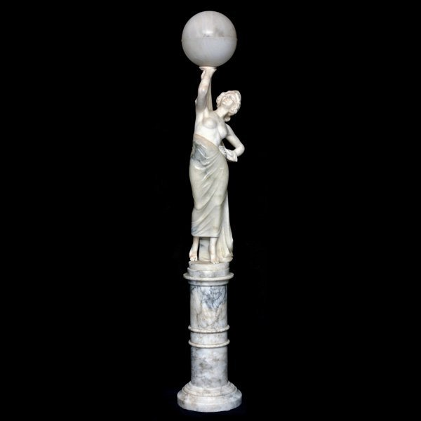 Neoclassical Figural Alabaster Floor Lamp