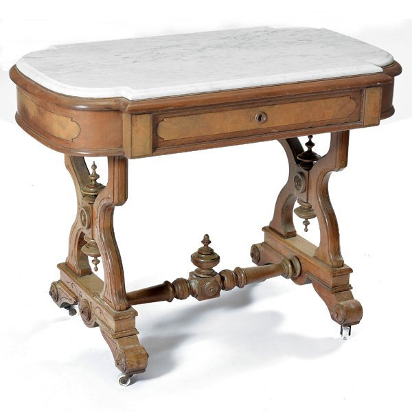 American Victorian  Marble Top Parlor Table