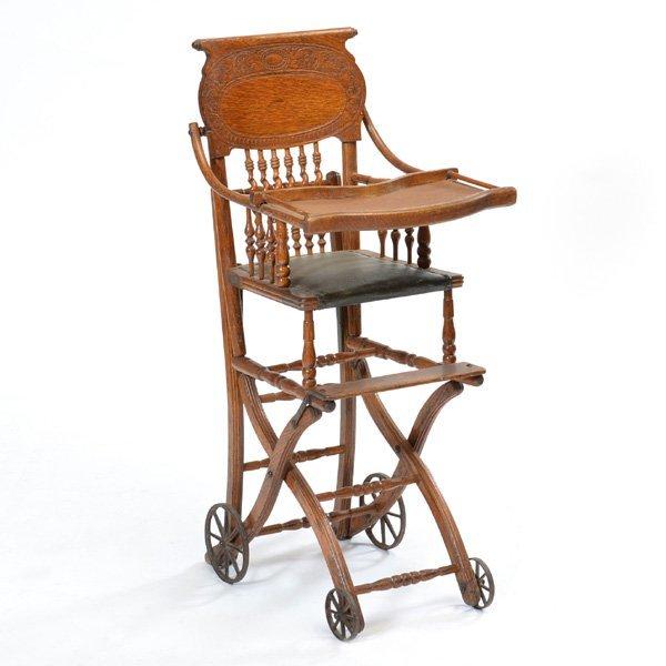 American Oak High Chair/Stroller