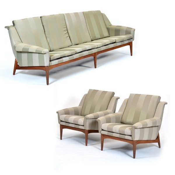 Danish Modern Bramin Mobler Teak Sofa & Arm Chairs