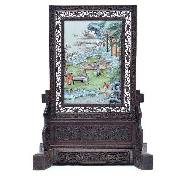Famille Verte Painted Porcelain Table Screen,