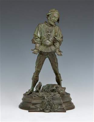 Bronze, Signed Bayre, Jester, 19th C