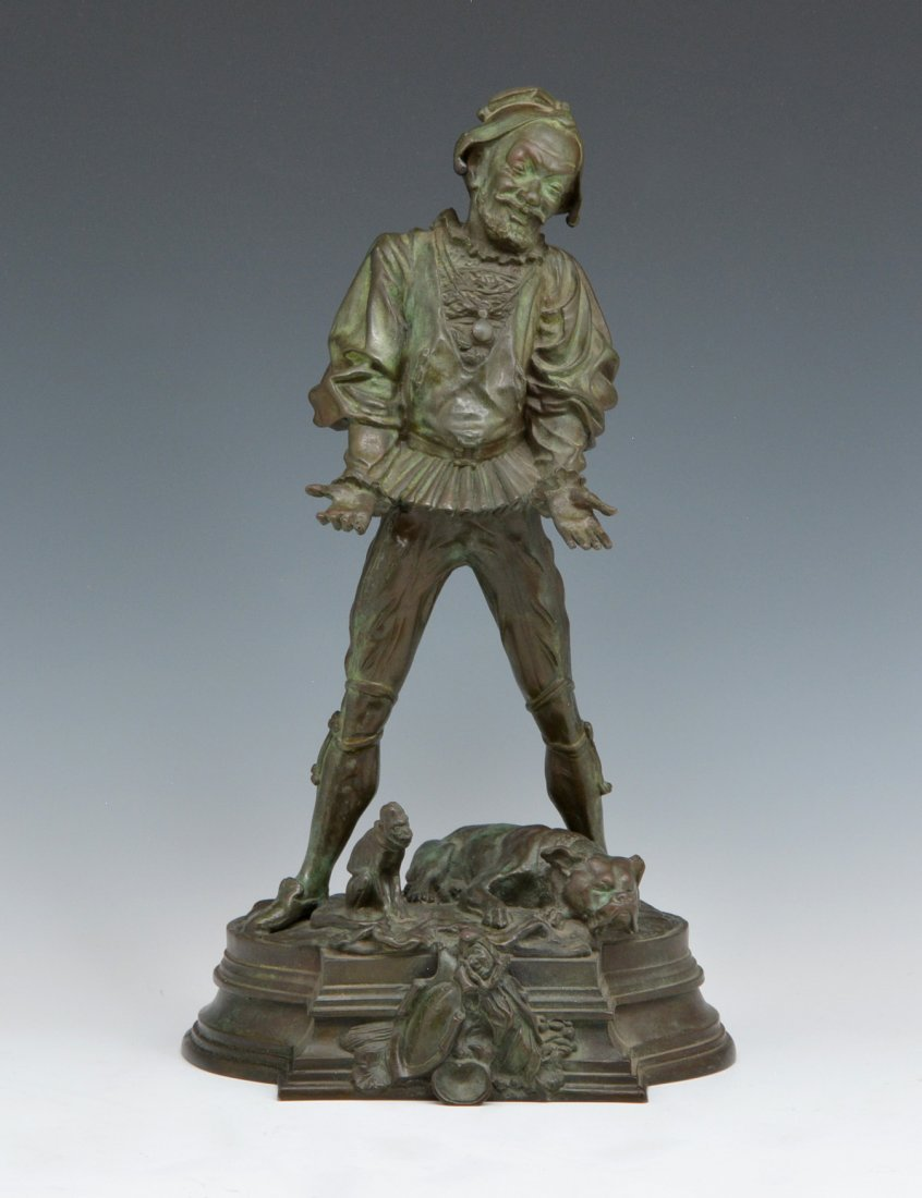 Bronze, Signed Bayre, Jester, 19th C