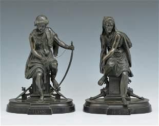 "Bronze Bookends, ""Diomede & Ulysse"", 19th C"