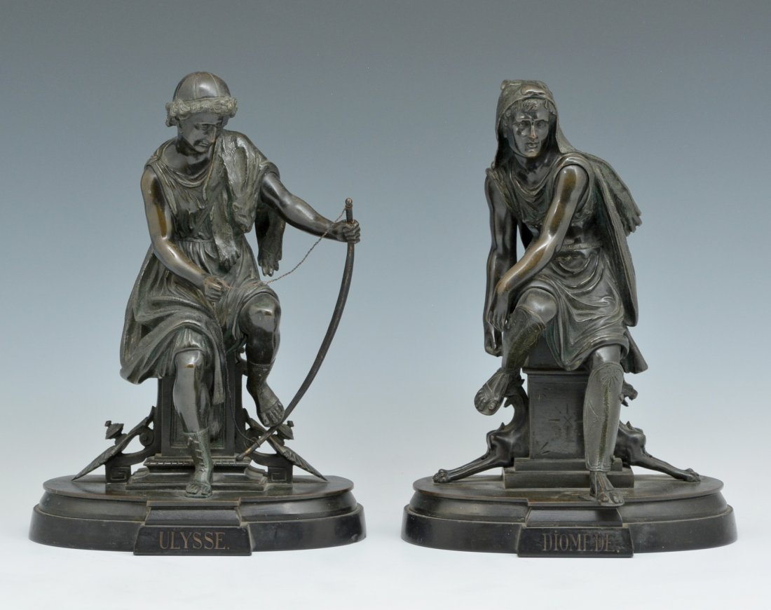 "Bronze Bookends, ""Diomede & Ulysse"", 19th C"