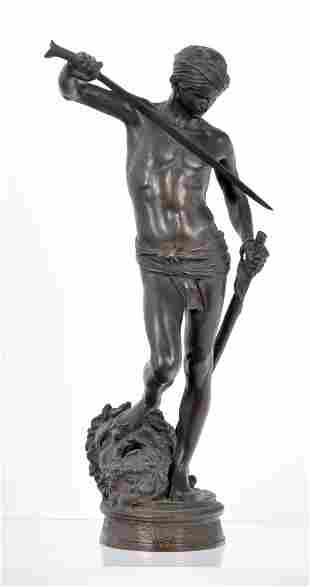 Antonin Mercie (FR 1845-1916) David & Goliath bronze