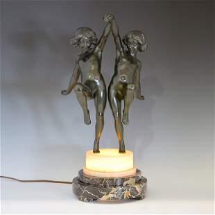 French Art Deco Bronze Luminaire, c 1930, young girls
