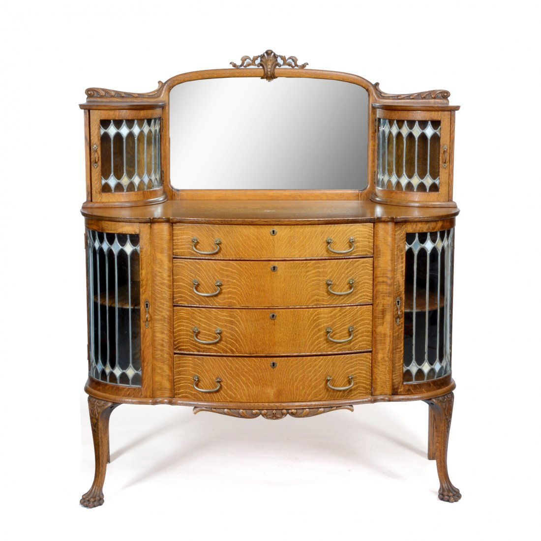 Victorian oak bow-front buffet, stained & leaded glass