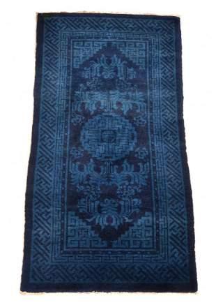 Chinese scatter rug, indigo, 4' x 2'.