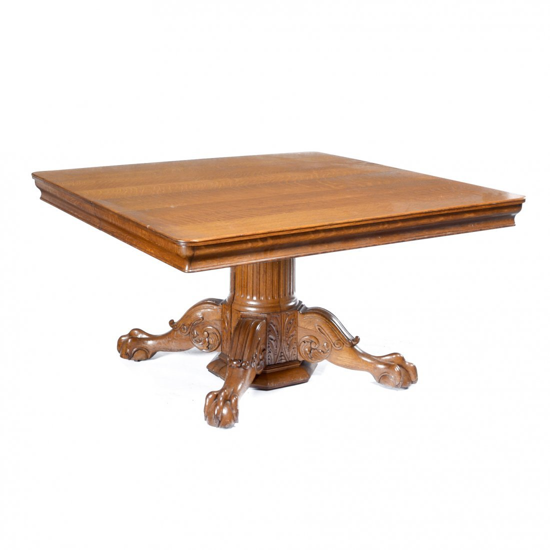 "American 54"" square oak table with two 11"" leaves"