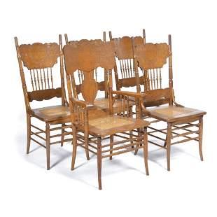 American oak press-back chairs, 5 + 1