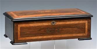 Swiss inlaid music box, 19th c