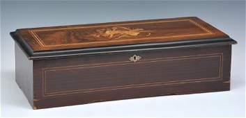 "Swiss inlaid music box, 19th c, 11"" cylinder"