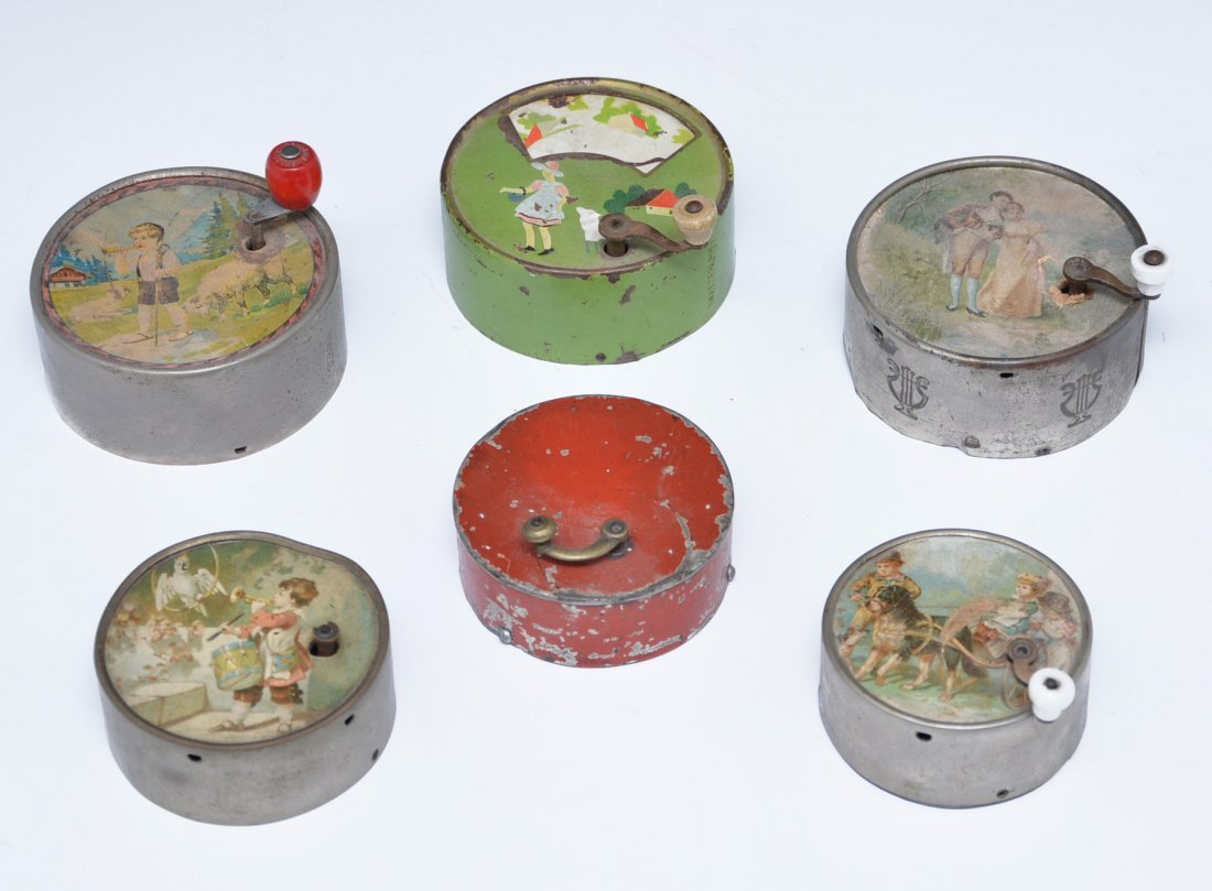 Grouping of 6 children's novelty swiss music boxes