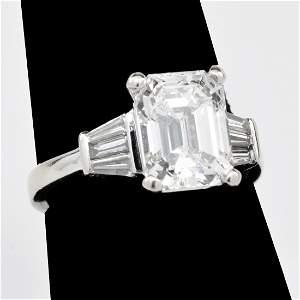 3.21 Carat Emerald-Cut Diamond Ring with GIA