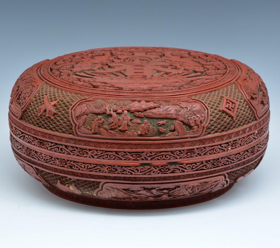 "Large Chinese Cinnabar Box, 16"" dia., Ming/ Qing"