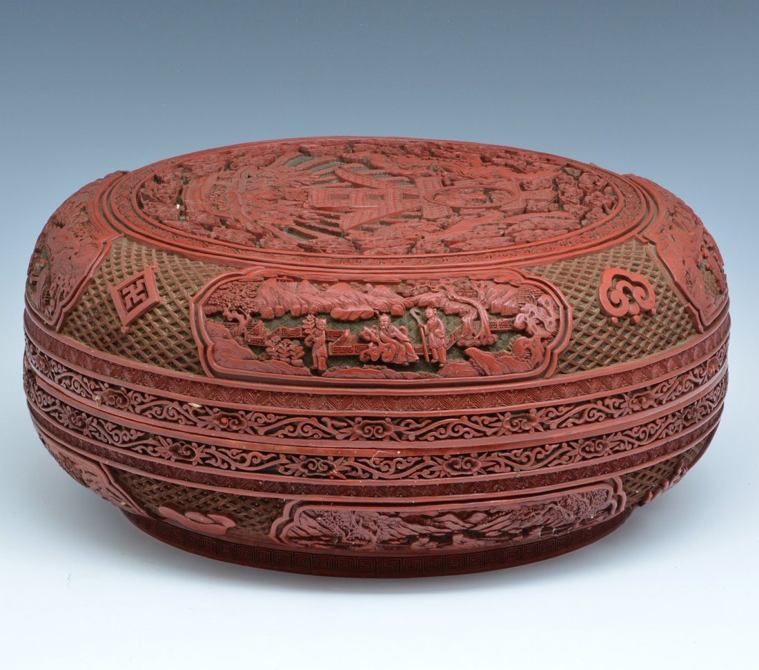 "Large Chinese Cinnabar Box, 16"" dia., Ming/ Qing - 4"