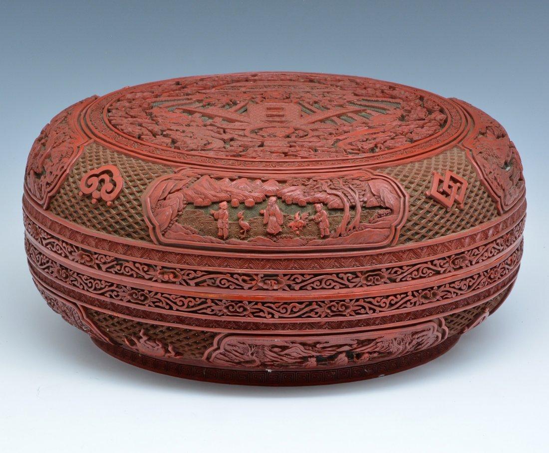 "Large Chinese Cinnabar Box, 16"" dia., Ming/ Qing - 5"