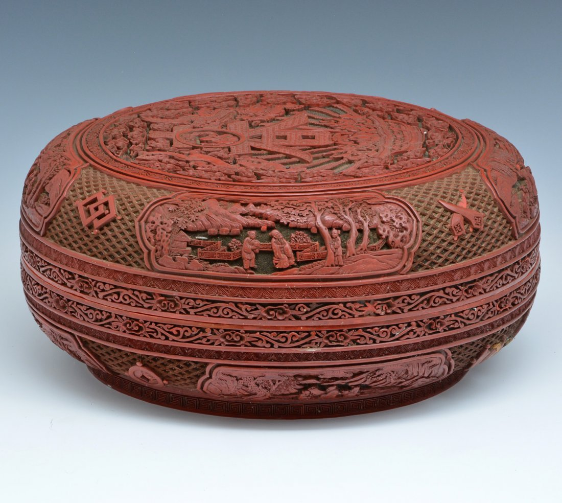 "Large Chinese Cinnabar Box, 16"" dia., Ming/ Qing - 6"