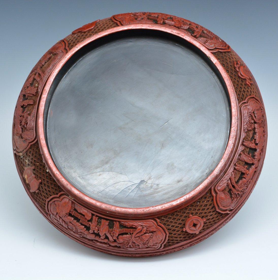 "Large Chinese Cinnabar Box, 16"" dia., Ming/ Qing - 7"