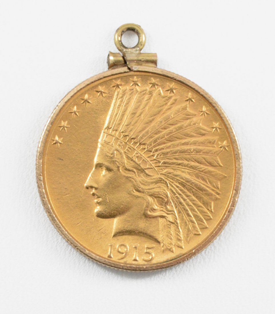 1915 $10 Indian Head Gold Eagle with coin bezel.