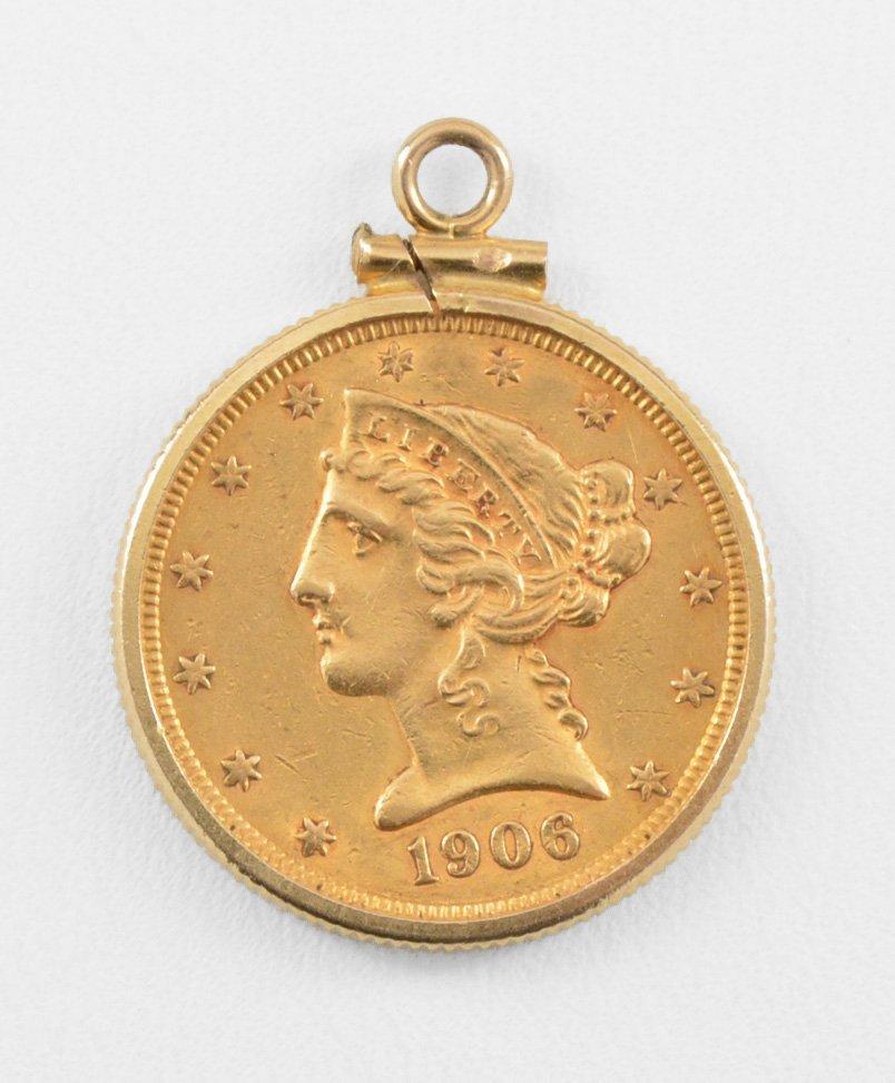 1906 Liberty 5 Dollar Half Eagle Gold US Coin