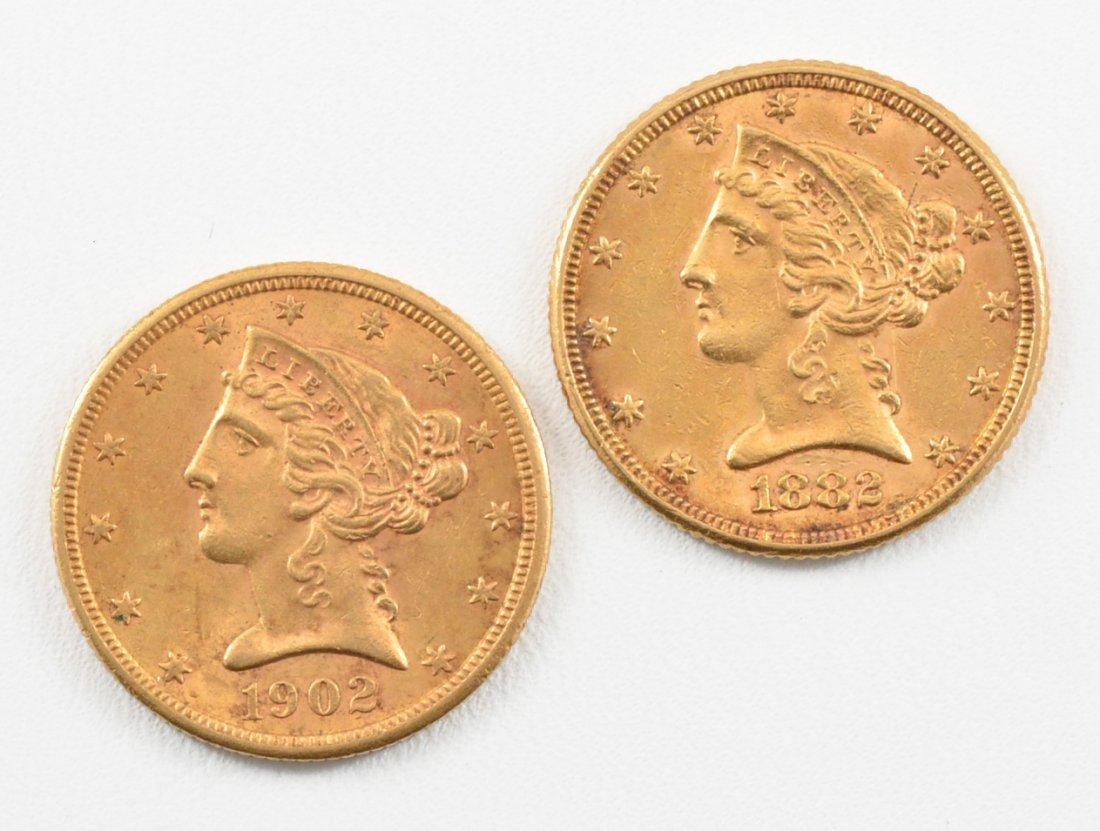 2 - $5 Liberty Head Gold Half Eagle 1882 &1902 S